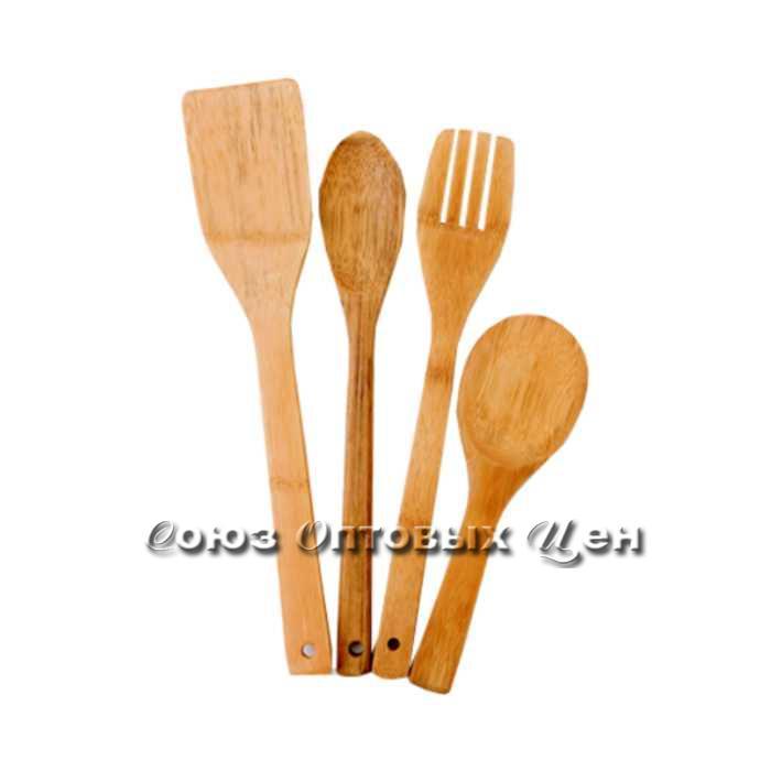 лопатки для приготовления пищи бамбук 4шт в пакете КН-11 DOMINA