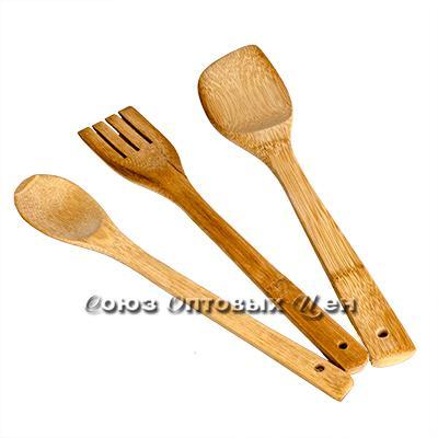 лопатки для приготовления пищи бамбук 3шт в пакете  H-26 DOMINA
