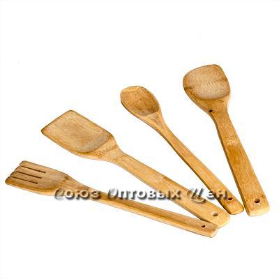 лопатки для приготовления пищи бамбук 4шт в пакете  КН-13 DOMINA