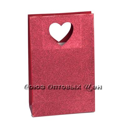 пакет бум 23*36*10 ручка выр Сердце крас уп/12 KF-1 кор/240