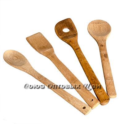 лопатки для приготовления пищи бамбук 4шт в пакете  КН-14 DOMINA