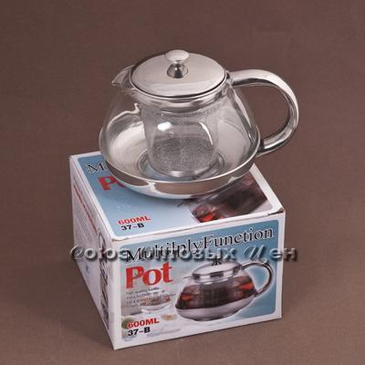 чайник-заварник метал/стекло 600мл 37-В