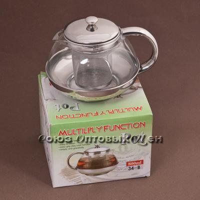 чайник-заварник метал/стекло 800мл 34-В