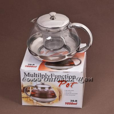 чайник-заварник метал/стекло 1050мл 38-В
