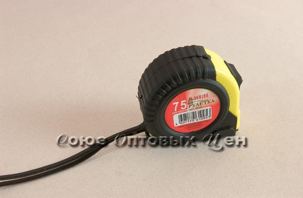 рулетка DOMINA 7,5м  резино-пласт магнит (уп=12 шт
