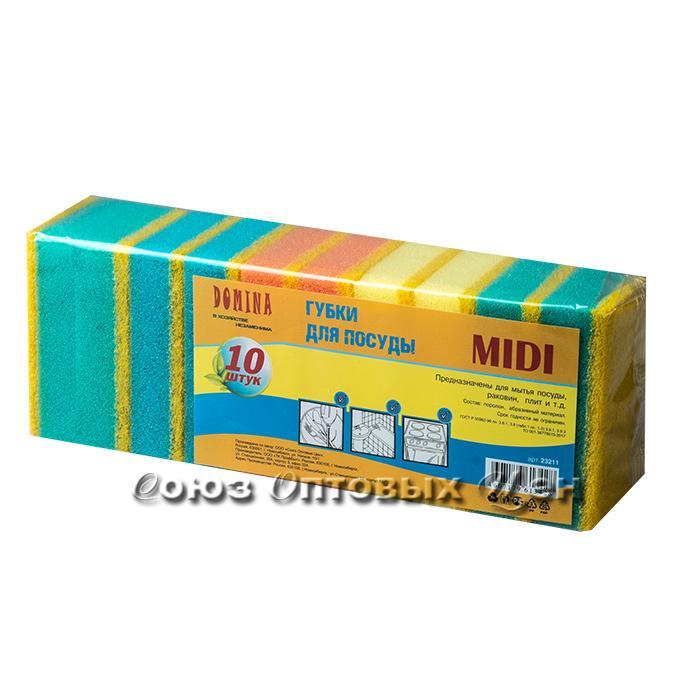 губка д/посуды DOMINA 10шт MIDI 9*6*2,5 (уп 30шт)