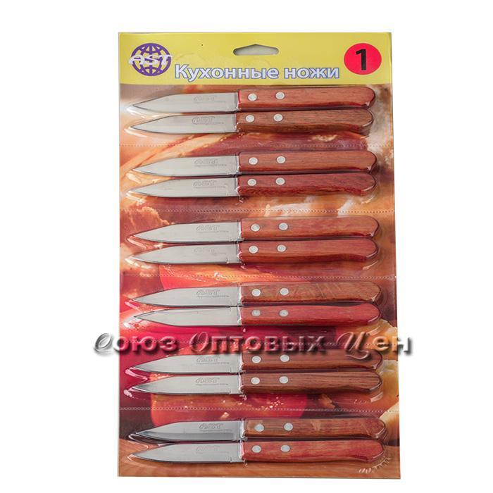 "нож кухонный DOMINA №1 для овощей 3""ручка дерево лист12 шт/уп 5 лист"