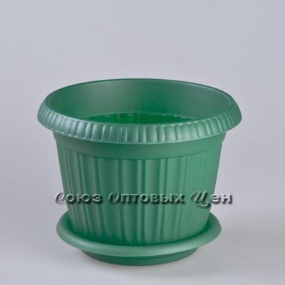 горшок д/цветов Таити 200 с подст №4 темно-зел 41020F