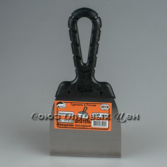 Шпатель с черной ручкой нерж.сталь 100 мм (40шт/уп)