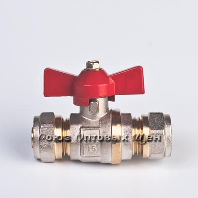 кран шаровый Сантех-М для мет/пласт труб 16*16 б/ф уп/8