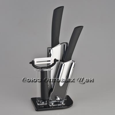"""набор ножей керам на подст+овощечистка 3шт (3"""",5) черные ручки СВ-37"""