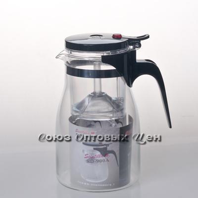чайник-заварник стекло со сливом 900мл SD-900A уп/16