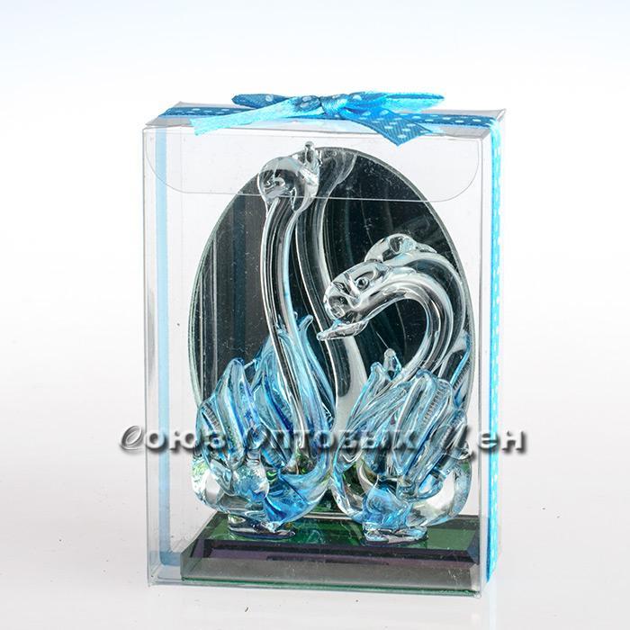 сувенир из стекла с подсветкой два лебедя №21