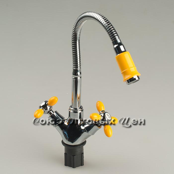 смеситель Эверест кухня 1/2 с гибким изливом B58-071B (желтый)