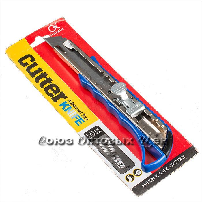 Нож канцелярский 18мм пласт, метал.направляющая 6898