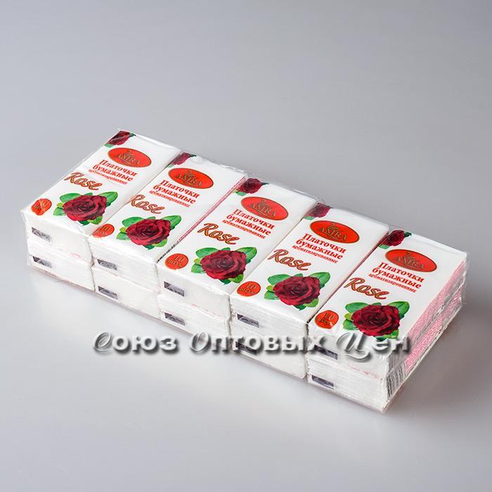 платочки бумажные Amra с ароматом розы 1/10/240