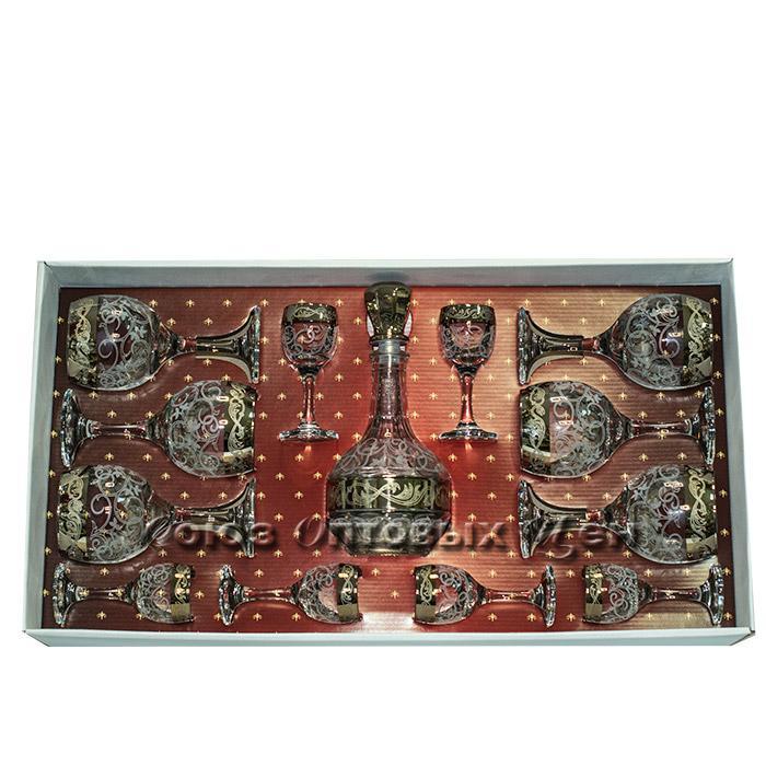 набор 18пр стекло ГН Барокко (6 фужеров, 6 бокалов бренди, 6 стопок) 411/483/50