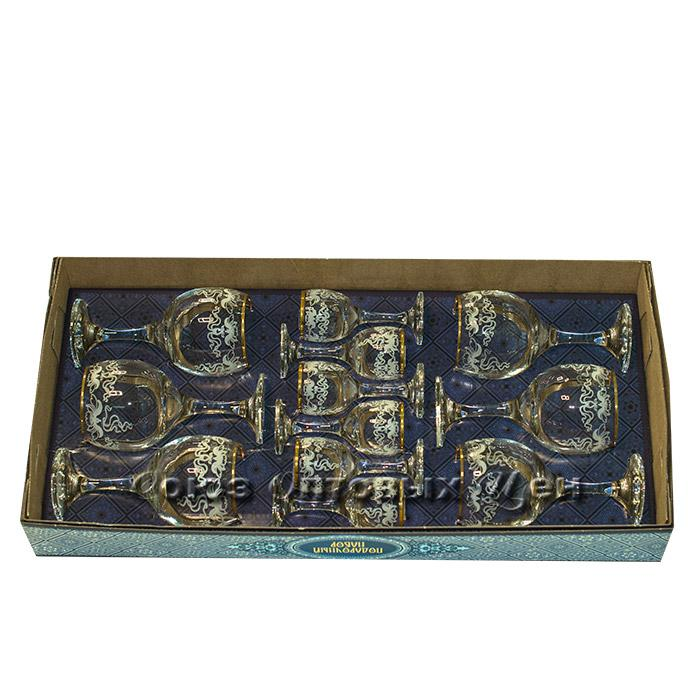 набор бокалов двойка  12пр Лилия 1614-ГЗ бокал-рюмка (уп/3наб)В5-1