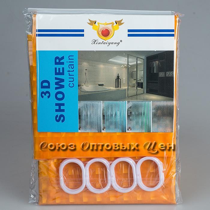штора в ванну 180*180 однотонная 3D оранж