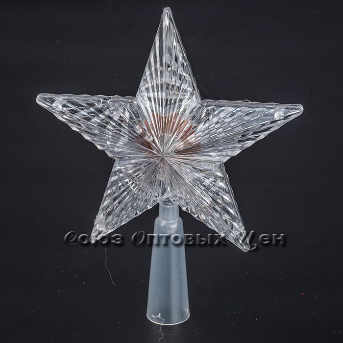 Новогоднее украшение на елку  пласт звезда с диодами 14см 18/70 уп5