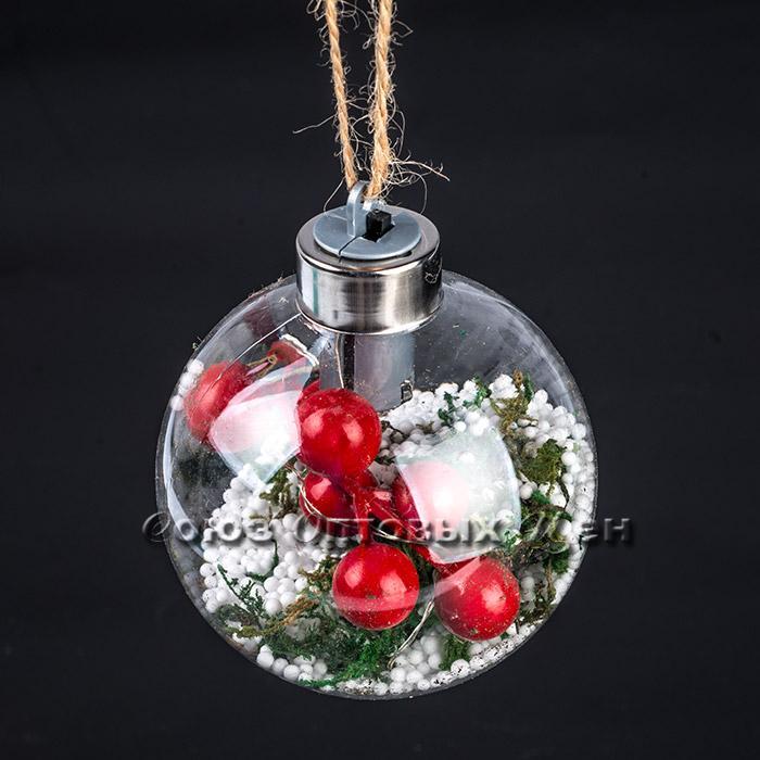 Новогоднее украшение на елку  шар с диодами 8см 18/73