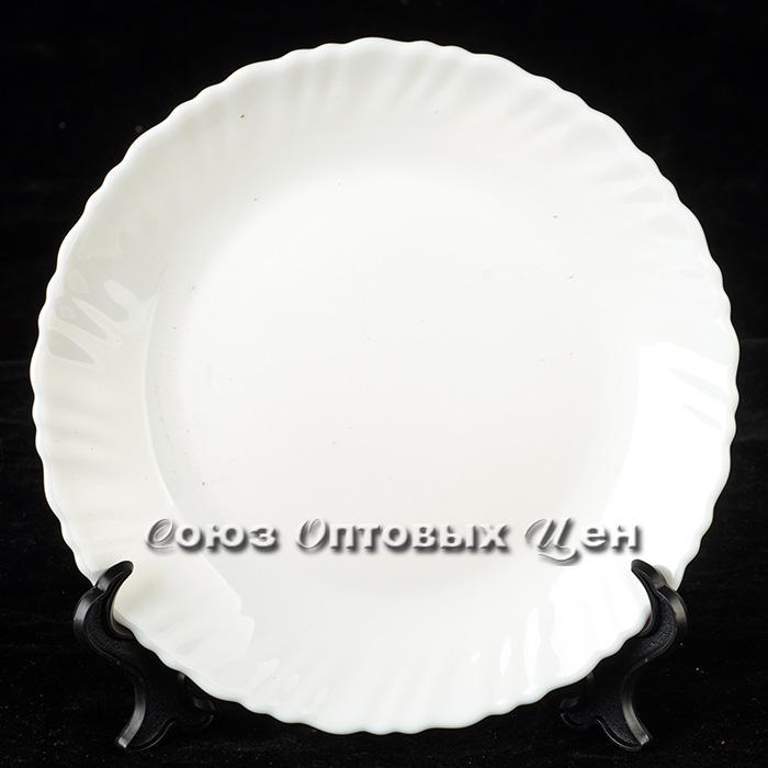 """тарелка стеклокерамика обеденная  10"""" d25 Белый В5 уп6"""