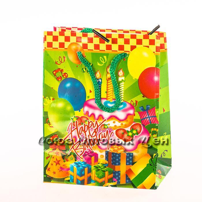 пакет бумажный 12*15*5 С Днём рождения уп/12 S-736