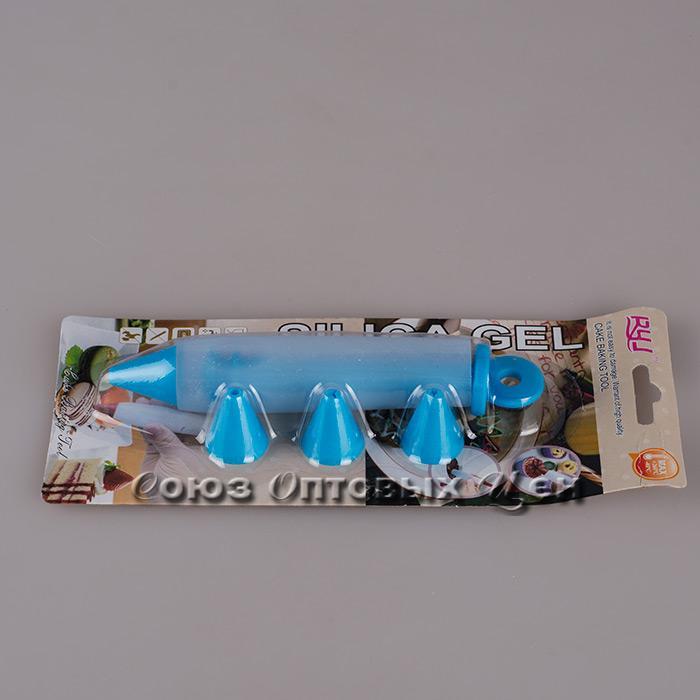 шприц кондитерский силикон 3 насадки AFY-R804