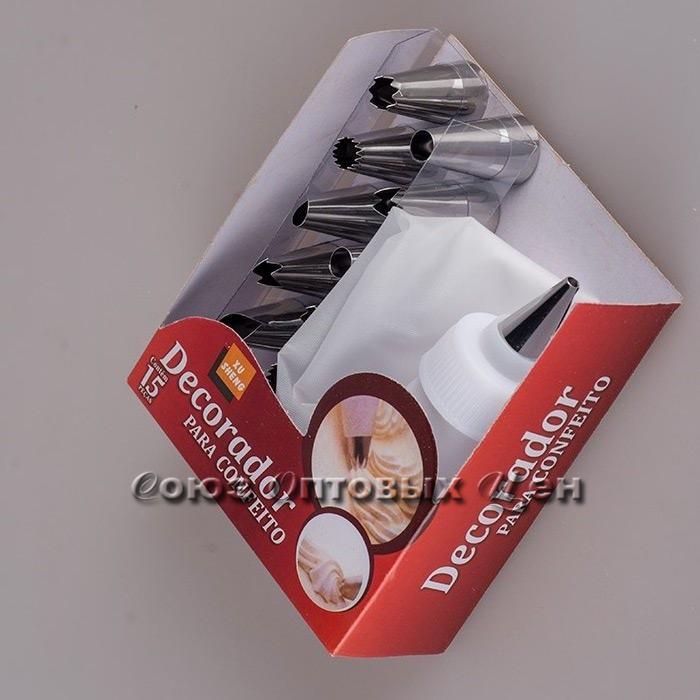 мешок-шприц кондитерский для крема с насадками 12шт.2752A