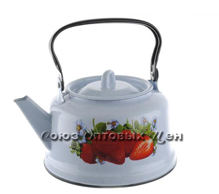 чайник эмаль 3,5л деколь Клубника садовая закатное дно Э-21