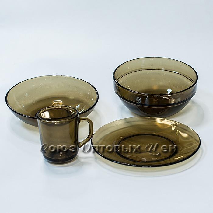 набор столовый стекло дым 19 пр на 6 персон BASILICO 62074