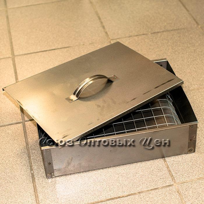 Коптильня 1-но уровневая в коробке  мм толщ. 350*260*100 * 0,5мм
