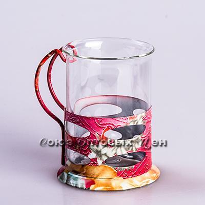 Стакан стекл в метал подстаканнике цветной корпус ЕР 200ml