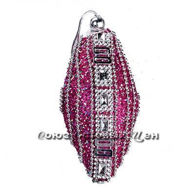 новогоднее украшение на елку шар 11см пласт узор из бусинок YH15-8239 №37 уп 10