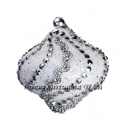 новогоднее украшение на елку шар 9cм пласт узор из бусинок YH15-8237 №45 уп 10