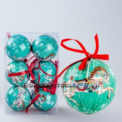 украшение новогоднее на елку шары 6см гл. S-10 уп/6 №1