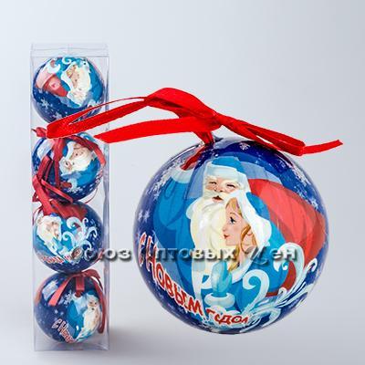 украшение новогоднее на елку шары 7см гл. S-2 уп/4 №21