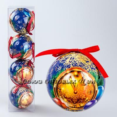 украшение новогоднее на елку шары 7см гл. S-7 уп/4 №15