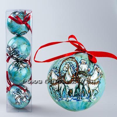 украшение новогоднее на елку шары 7см гл. S-9 уп/4 №8