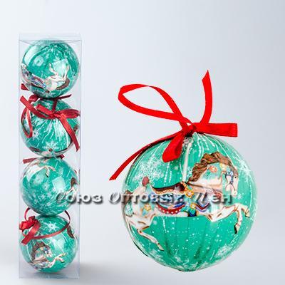 украшение новогоднее на елку шары 7см гл. S-10 уп/4 №14