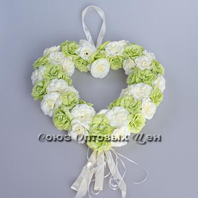 цветы искуственные (сердце сделано из цветов) зелёные ткань Н-255  3э