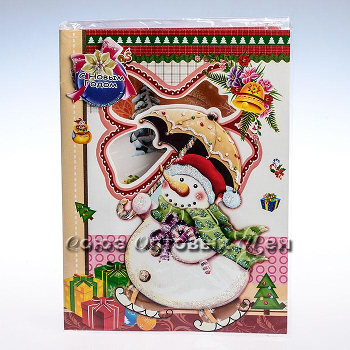 открытка новогодняя 14,5*20cm SD10-6 уп 24шт
