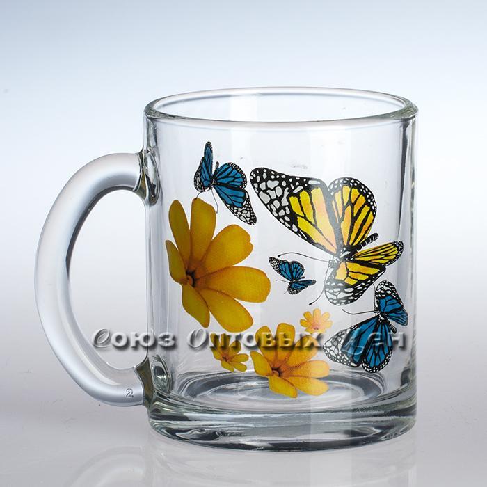 Кружка чайн 04с1208 Бабочки и оранжевые цветы 300мл уп/24шт