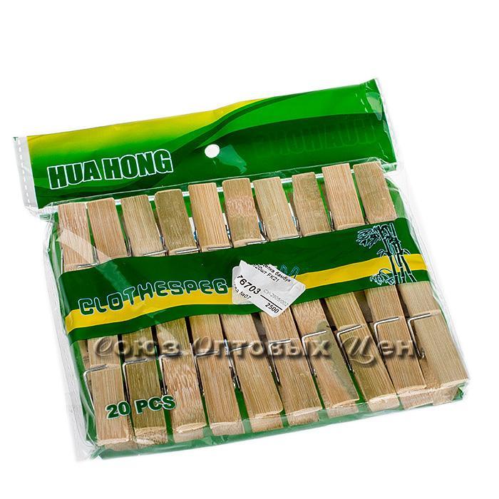 прищепка бамбук, 6 см, уп/20шт FK21