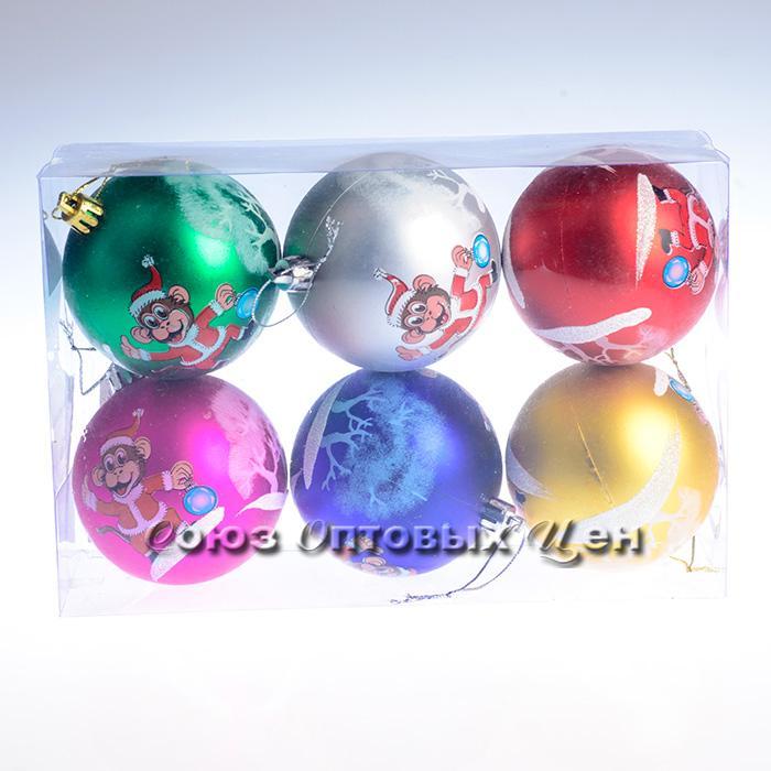 украшение новогоднее на елку 8BC6-B56/6H уп 6шт 8см  В-4
