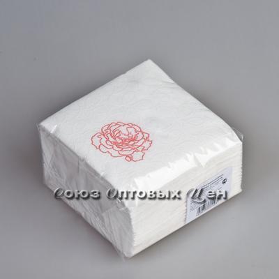 салфетки 100 лист 1/12 Белая целл. Розочка