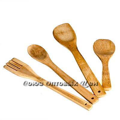 лопатки для приготовления пищи бамбук 4шт в пакете  КН-12 DOMINA