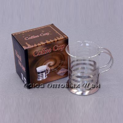 стакан стекл в метал подстаканнике НТ02-С 200мл В1