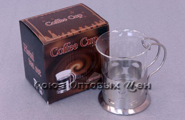 стакан стекл в метал подстаканнике НТ07-С 200мл В1