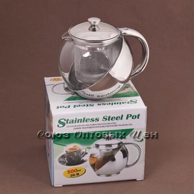 чайник-заварник метал/стекло 1100мл 33-В